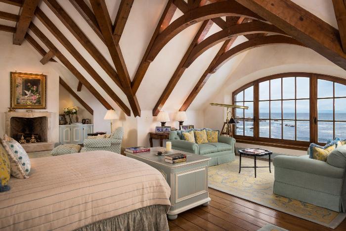 Truss Ceiling in French Normandy Bedroom