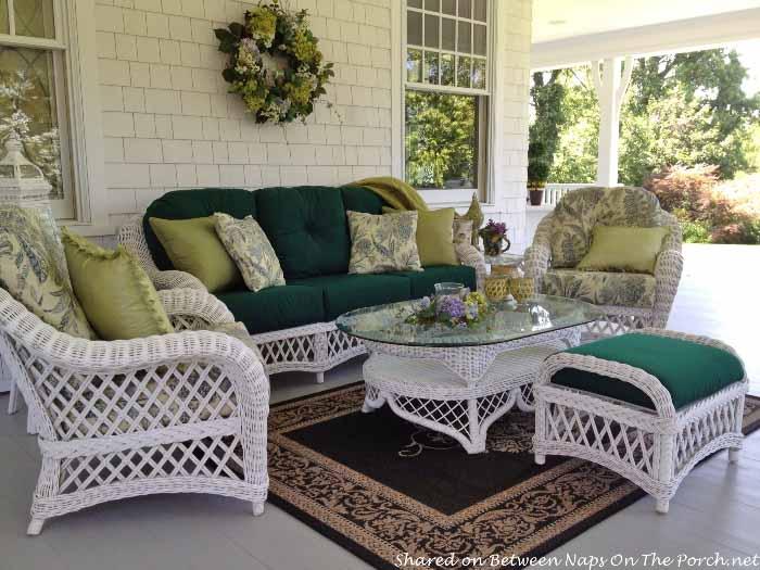 Victorian Porch, White Wicker Furniture