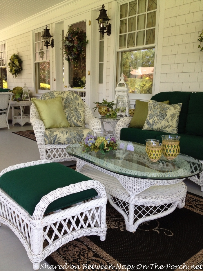 White Wicker Furniture, Victorian Porch