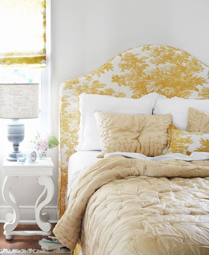Yellow and White Toile Bedroom in Historic Mississippi Home