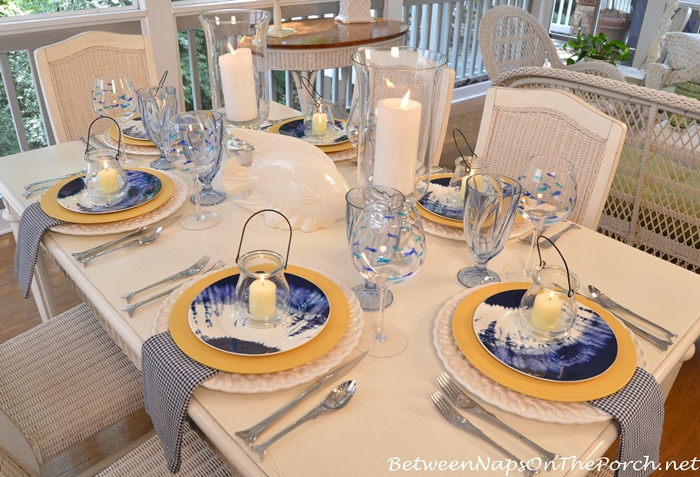 Beach Themed Table Setting with Noritake Indigo Beach