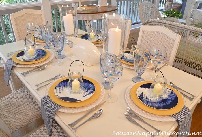 Beach Themed Table Setting with Noritake Indigo Beach
