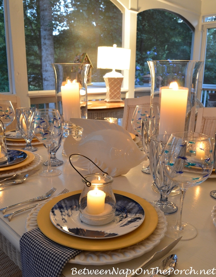 Beach or Lake House Table Setting