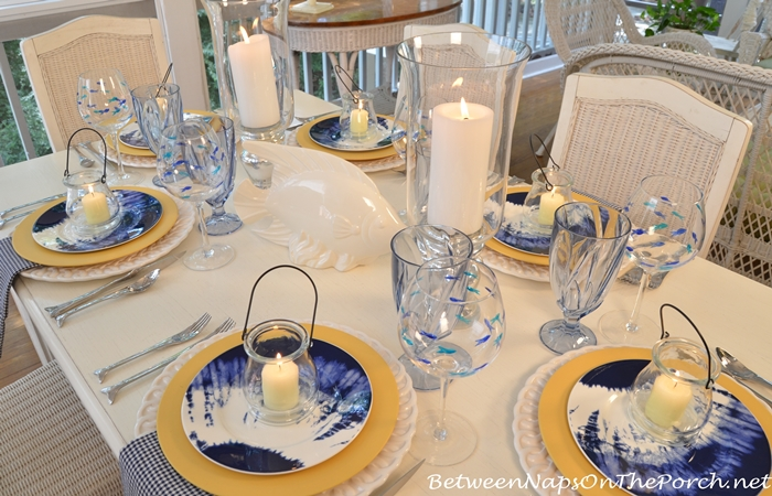 Blue, White Yellow Table Setting with Noritake Indigo Beach