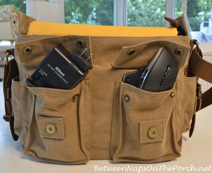 Canvas & Leather Camera Laptop Bag with Pockets