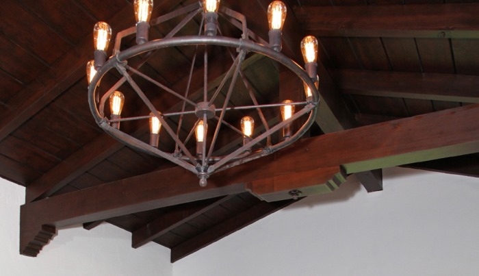 Douglas Fir Wood Ceiling Beams After Restoration