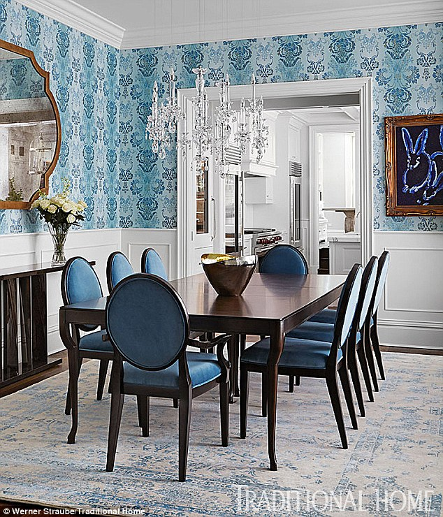 Giuliana & Bill Rancic's Blue Wallpapered Dining Room in Chicago Home