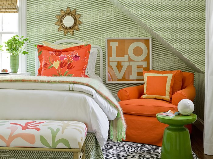 Green & Orange Bedroom