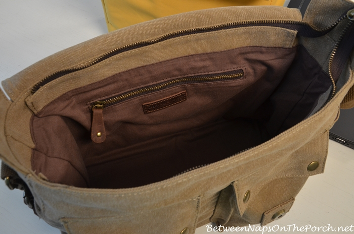 Interior of Canvas & Leather Camera, Laptop Book Bag