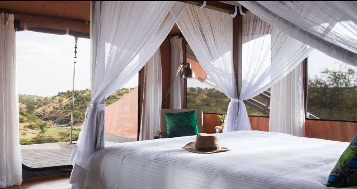 Mahali Mzuri Bedroom with Canopy Bed