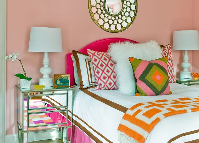 Pink, Orange and Green Bedroom