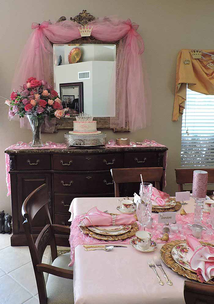 princess themed baby shower in pink 11 - Baby Shower Tablescapes Ideas