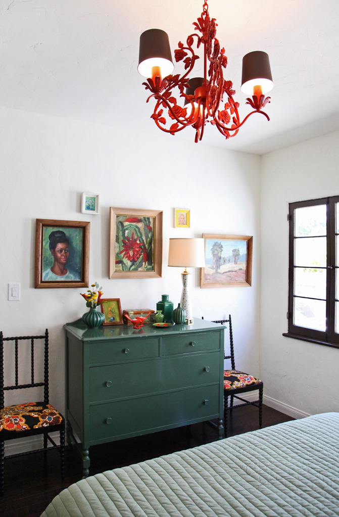 Red Tole Chandelier for Cottage Bedroom