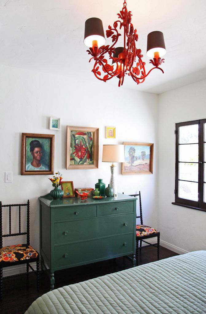 Red Tole Chandelier for Cottage Bedroom