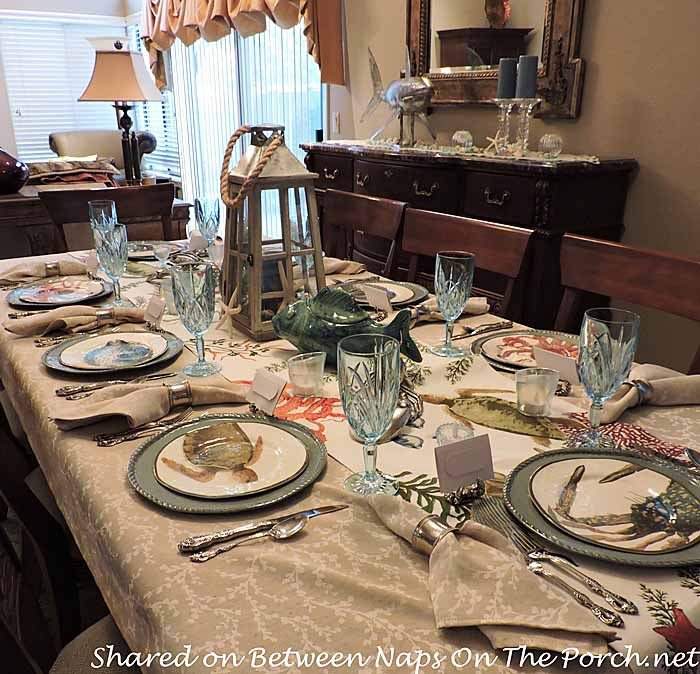Sea Life Tablescape With Pottery Barn Playa Plates And Table Runner 01
