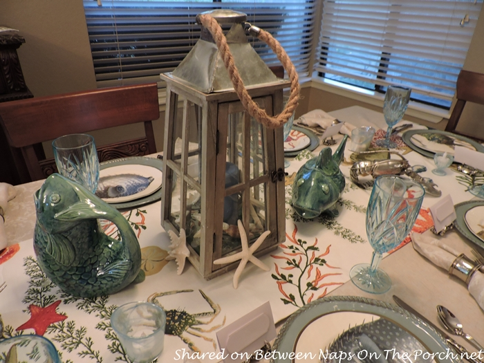 Sea Life Tablescape With Pottery Barn Playa Plates and Table Runner 02
