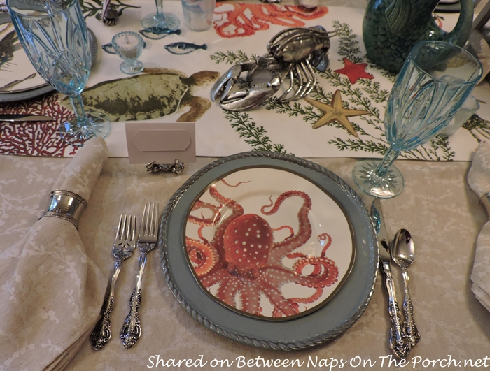 Sea Life Tablescape With Pottery Barn Playa Plates and Table Runner 03