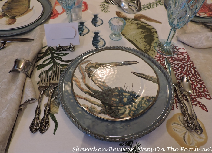 Sea Life Tablescape With Pottery Barn Playa Plates and Table Runner 04