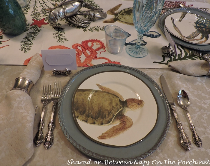Sea Life Tablescape With Pottery Barn Playa Plates and Table Runner 05