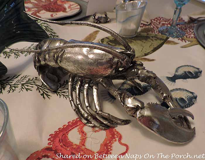 Sea Life Tablescape With Pottery Barn Playa Plates and Table Runner 07
