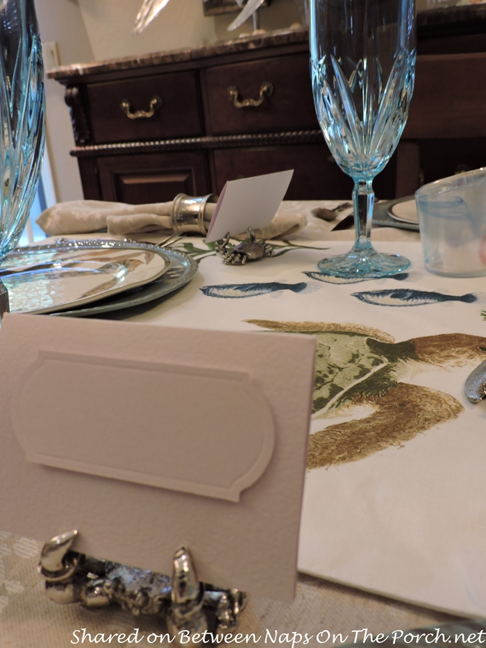 Sea Life Tablescape With Pottery Barn Playa Plates and Table Runner 11