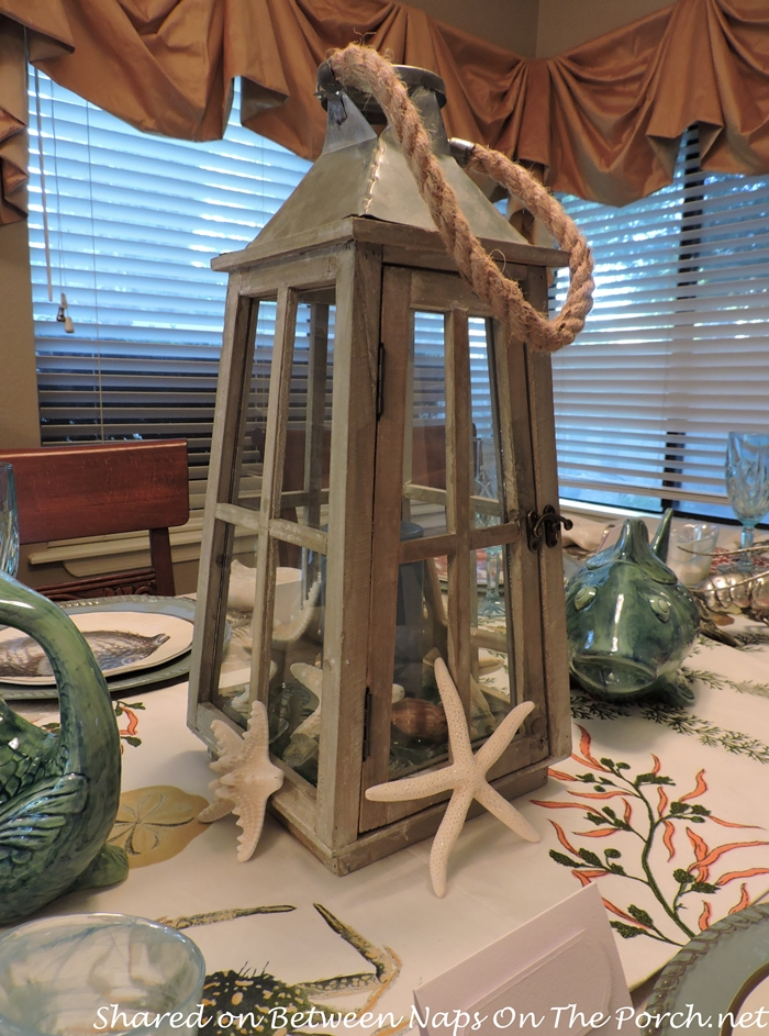 Sea Life Tablescape With Pottery Barn Playa Plates and Table Runner 13