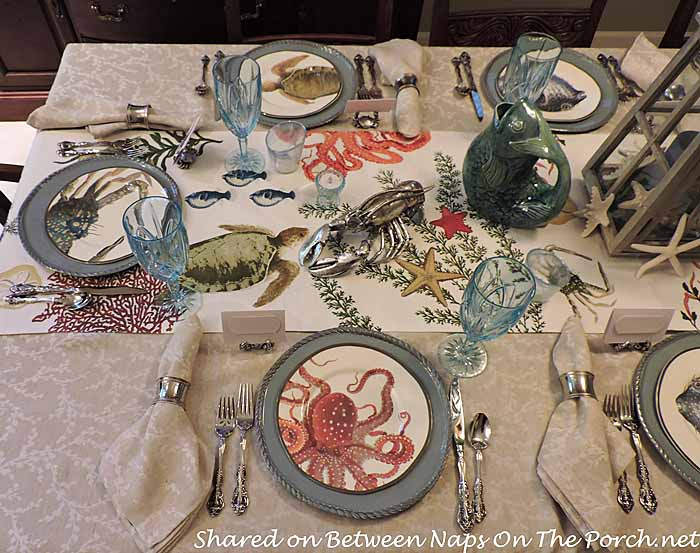 Sea Life Tablescape With Pottery Barn Playa Plates And Table Runner 26