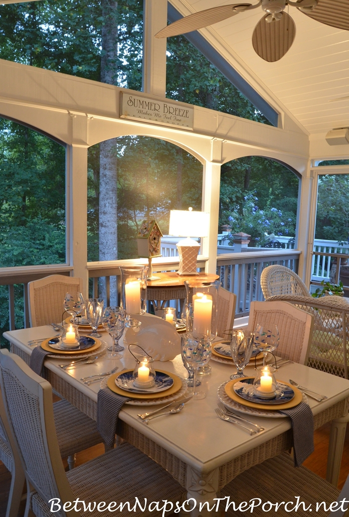Summer Porch Table Setting by Candlelight