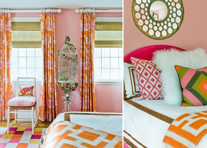 Vibrant Bedroom in Pink & Orange