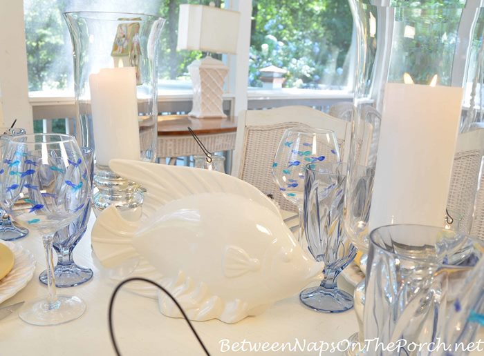 White Fish Centerpiece for a Beachy Table Setting