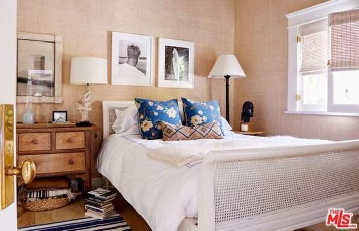 White Rattan Sleigh Bedroom