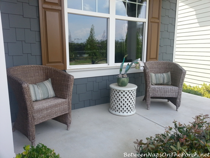 Wicker and Garden Stool for Front Porch