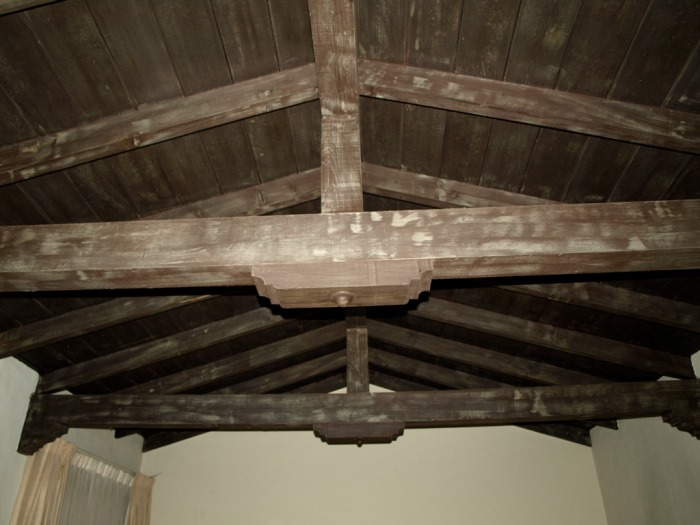Wood Beams with Faux Finish Before Restoration