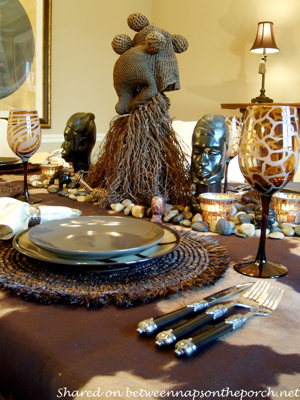 A birthday celebration with a safari themed table setting for African party decoration