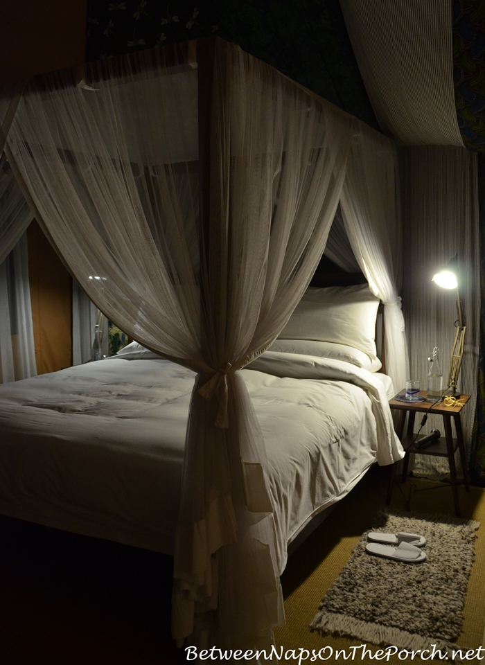 Bed prepared for evening at Mahali Mzuri