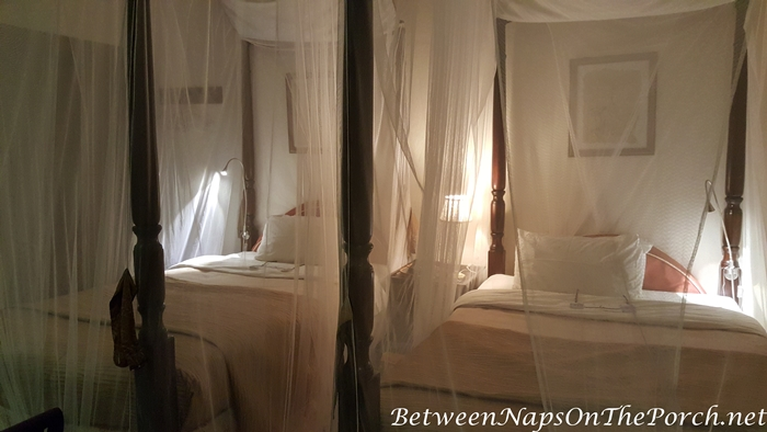 Beds Draped with Mosquito Netting