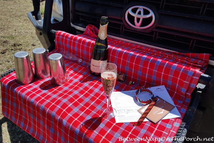 Champagne Greeting For Guests of Mahali Mzuri