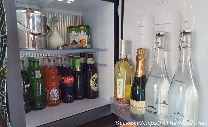 Stocked Refrigerator in Mahali Mzuri Tent