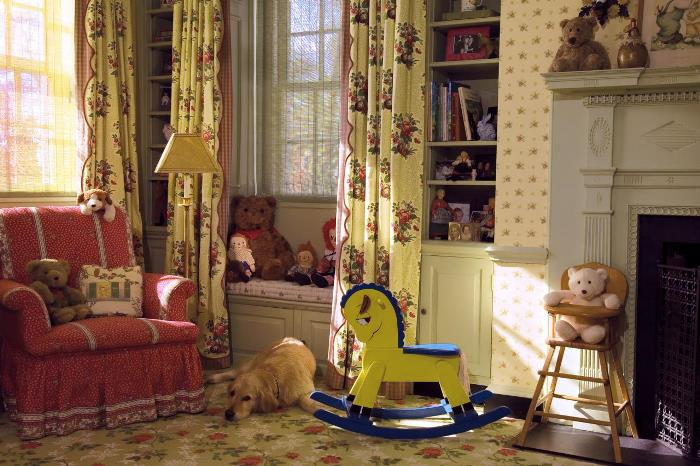 Storybook Nursery with Fireplace, Rocking Horse and Window Seat
