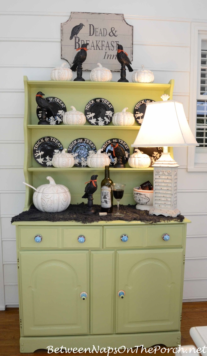 Halloween Hutch with Crows and Pumpkins