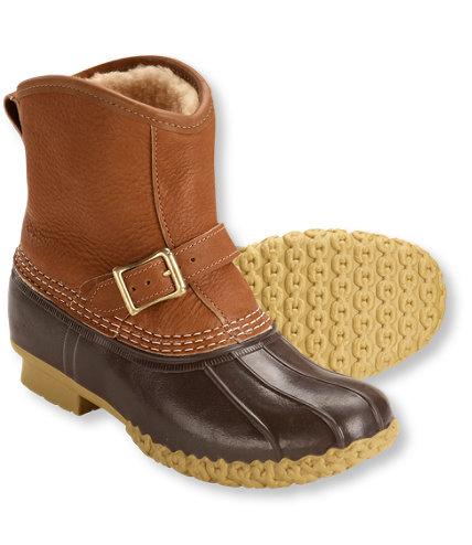 L.L. Bean Tumbled Leather Shearling-Linded Lounger