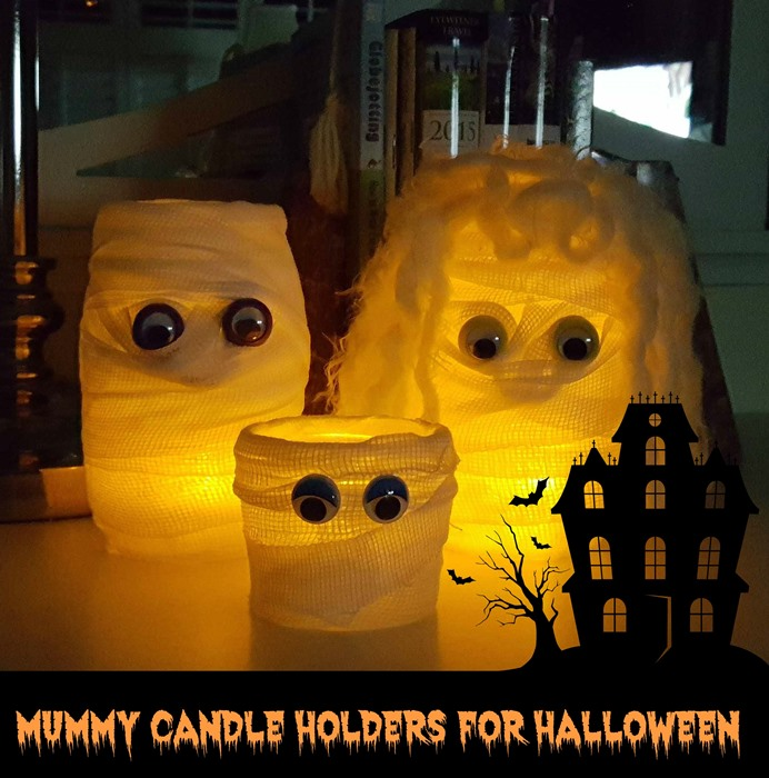 Mummy Candle Holdersr Lit for Halloween Decor