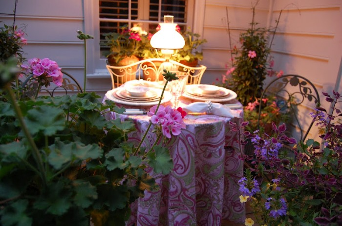 Outdoor table setting for two