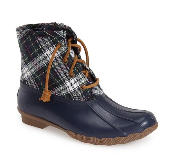 Sperry Plaid Saltwater Waterproof Rain Boot