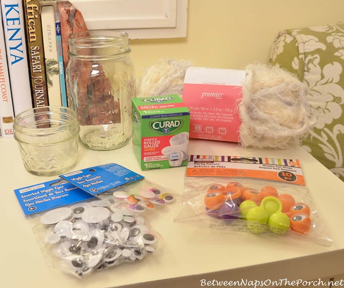 Supplies to Make Mummy Candle Holder