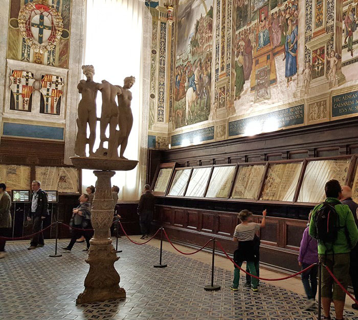 The Three Graces inside the Piccolomini Library, Siena Cathedral
