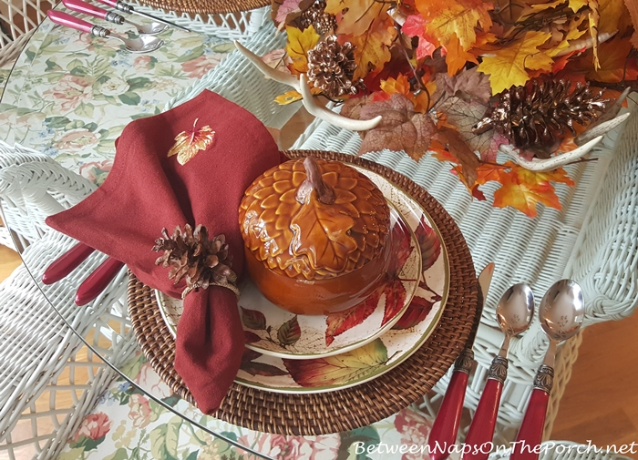 Acorn Soup Tureens in Fall Table Setting with Roasted Pumpkin Soup