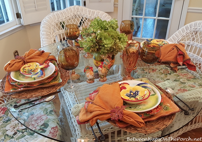 Autumn Tablescape with Roosters and Hydrangeas
