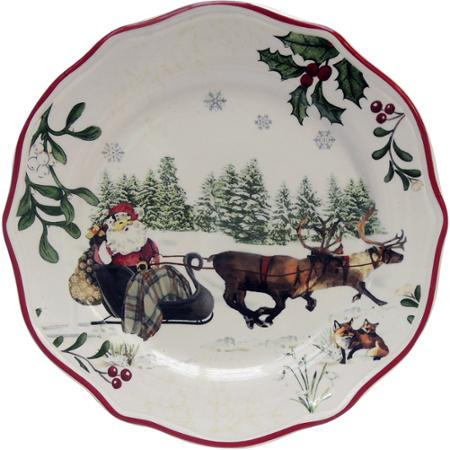 Better Homes and Garden Christmas Dishware with Santa in His Sleigh