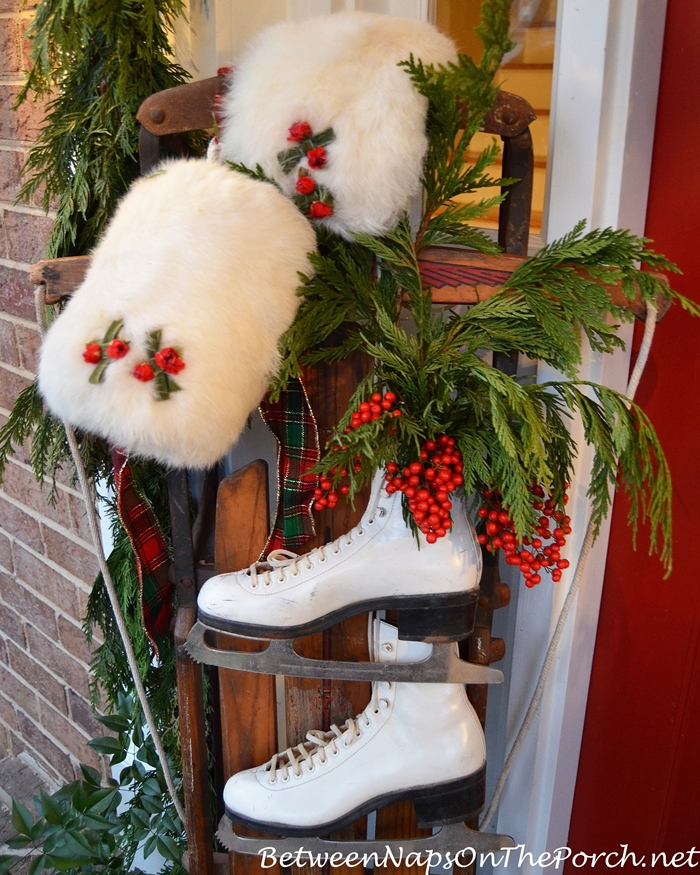 Christmas Porch Decorations, Sled, Ice Skates, Muff, Greenery, Berries, Cedar Garland